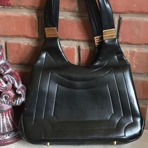 Vintage Black Leather Double Strap Top Clasp Bag